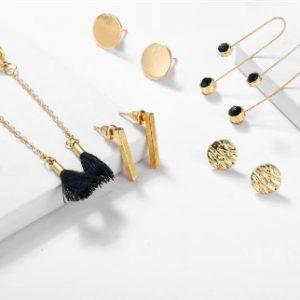 oorbellen set, goud, staaf, studs, oorhangers, sieraden