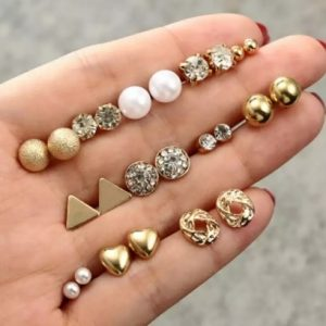 stud earrings set, pearl, triangle, gold, jewellery