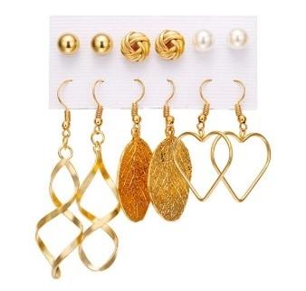 oorbellen set, goud, sieraden, studs oorbellen, oorhangers