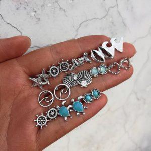 zilveren oorbellen set, zee, schildpad, hartje, zeemermin staart, sieraden