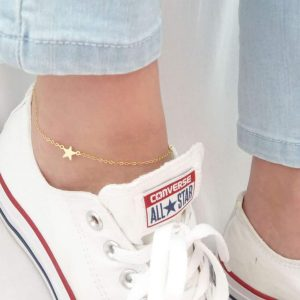 anklet, star, gold, jewellery, minimalist