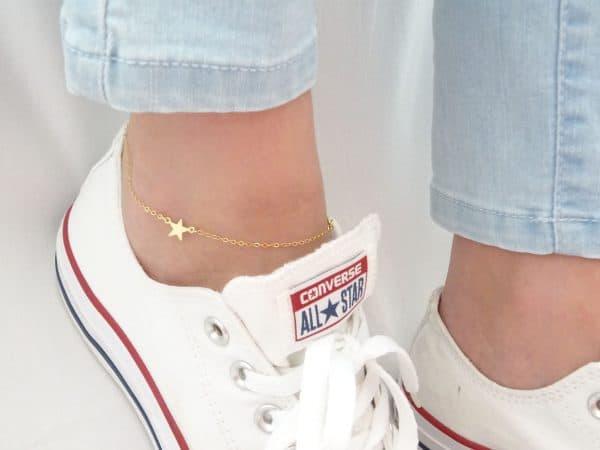 anklet, star, gold, jewellery, minimalist