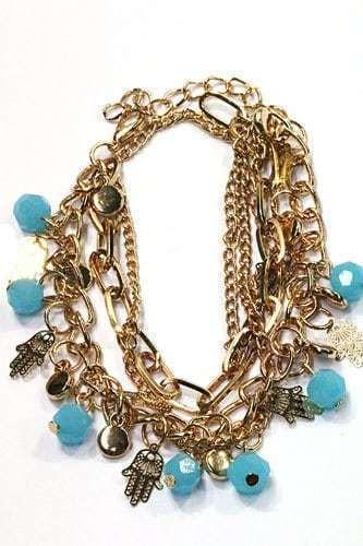 Fatima Hand Armband Met Blauwe Kralen. Klik hier voor meer leuke armbanden.Shop alle musthave sieraden bij aphrodite. Gratis verzending en cadeau.