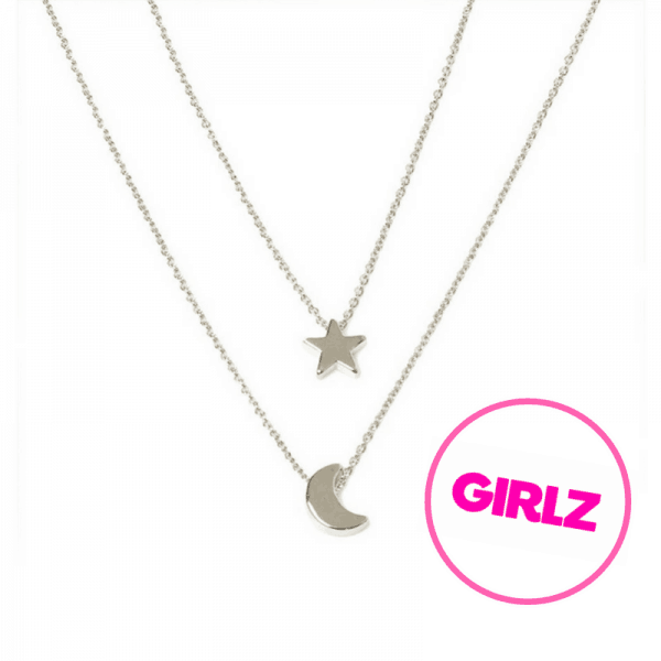 Silver Moon And Star Layered Necklace. Click hear for more beautiful layered necklaces.Shop all musthave jewellery by aphrodite.Free worldwide shipping.