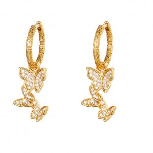 gold plated oorbellen, vlinder, 18k , sieraden, accessoires, dames, jewellery, oorringen, creolen, hanger, bedel
