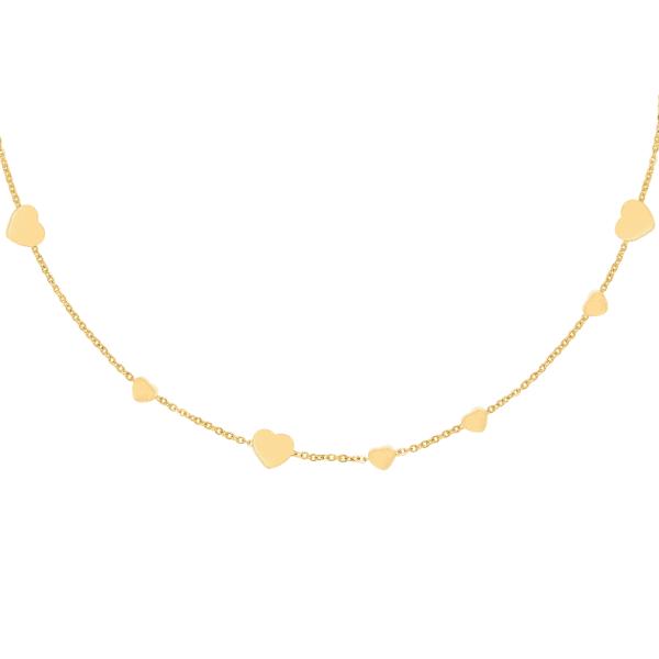 gouden ketting, hartjes, stainless steel, nikkel vrij, sieraden, sieraad, dames