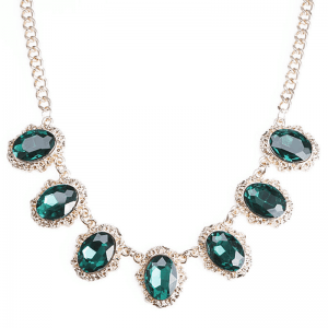 statement ketting, groen, goud, kristallen, zirconia, diamanten