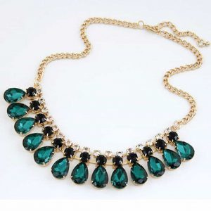 statement necklace, green, jewellery, jewelry, zirconia, diamonds, crystal