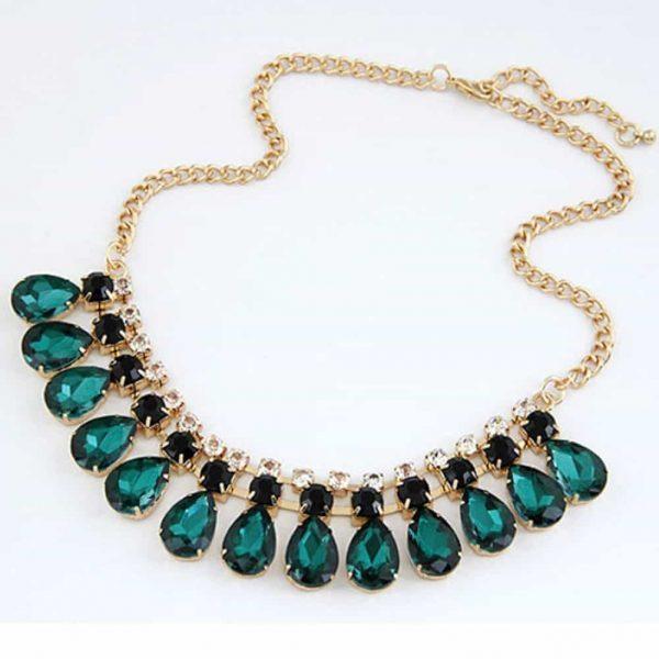 statement necklace, green, jewellery, jewelry, zirconia, diamonds, crystal