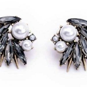 grijze statement oorbellen, sieraden, jewellery, kristallen, zirconia, parels, feest, kerst
