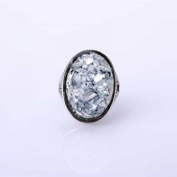 statement ring, grijs, schelp, jewellery