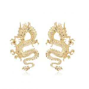 grote oorbellen, statement, goud, draak, dames, sieraad, sieraden, jewellery, jewelry, leuk
