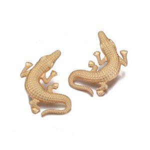 grote oorbellen, statement, goud, zilver, krokodil, dier, dames, accessoires, sieraden