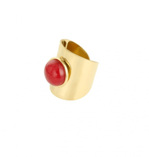 grote ring, rood, stainless steel, rvs, roest vrij staal, dames, jewellery, accessoires