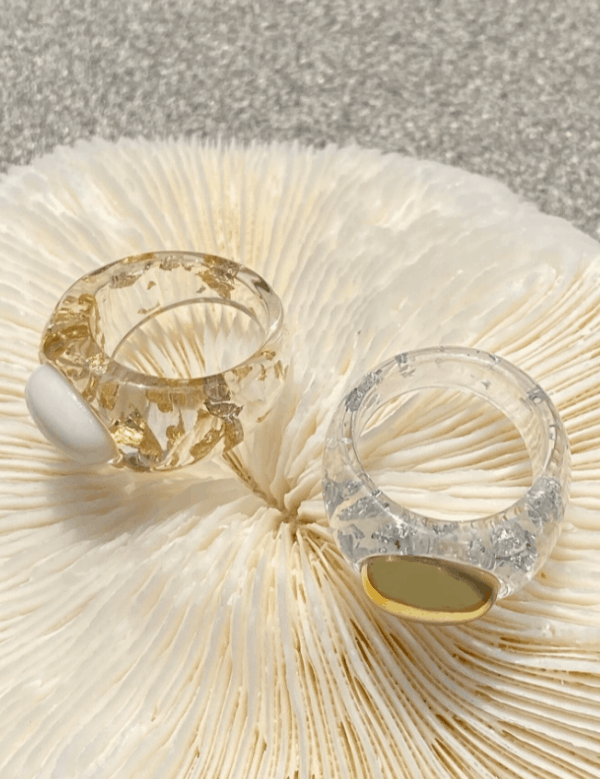 grote ringen, transparant, zomer, sieraden, trendy, dames, accessoires, goud, zilver