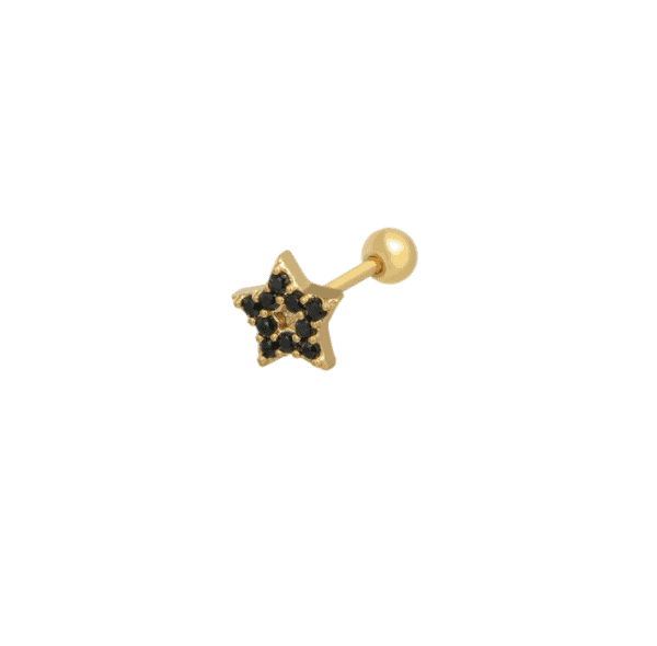 helix piercing, star, stainless steel, jewellery, accessoires, gold, black
