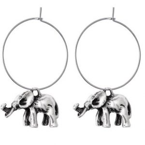 hoop earrings, elephant, silver, jewellery