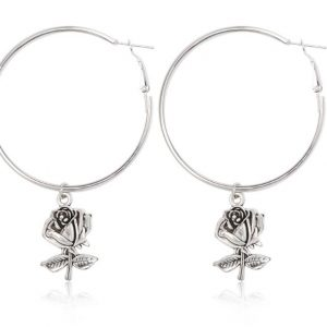hoop earrings, silver, rose, jewellery