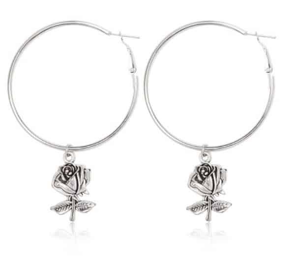 hoop earrings, silver, rose, jewellery