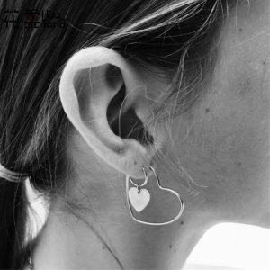 hoop earrings, set, heart, jewellery