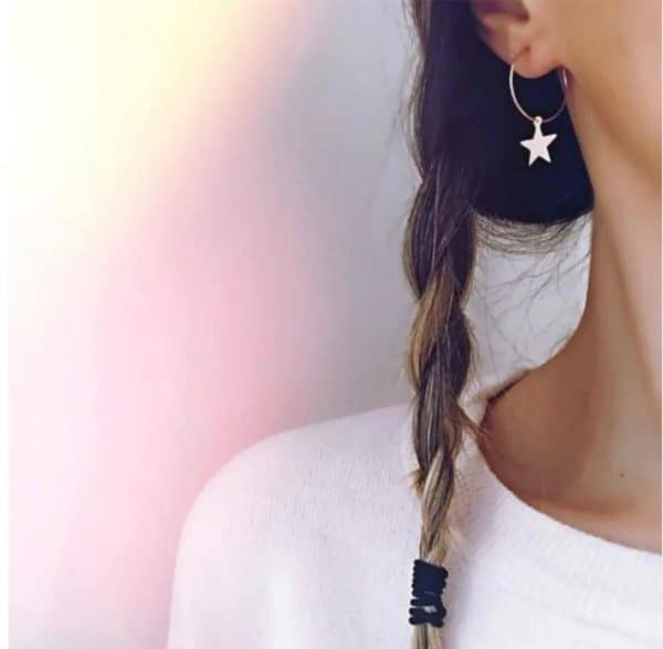 hoop earrings, star, gold, jewellery