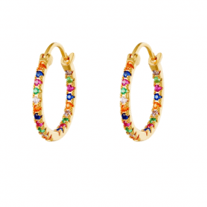 hoop earrings, zirkonia, colorful, jewellery, jewelry