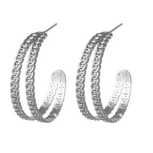 hoop oorbellen, chain, zilver, goud, stainless steel, rvs, roestvrij staal, sieraden