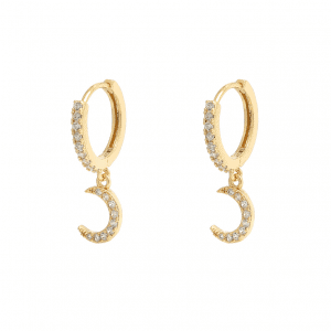 huggie oorbellen, diamanten, maan, sieraad, sieraden, jewellery, jewelry, gold plated, goud, zilver