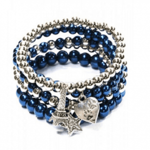 ICANDY Blue Beaded Bracelet Set With Charms. Click here for more bracelets. Shop all musthave jewellery by Aphrodite. Free worldwide shipping and gift.
