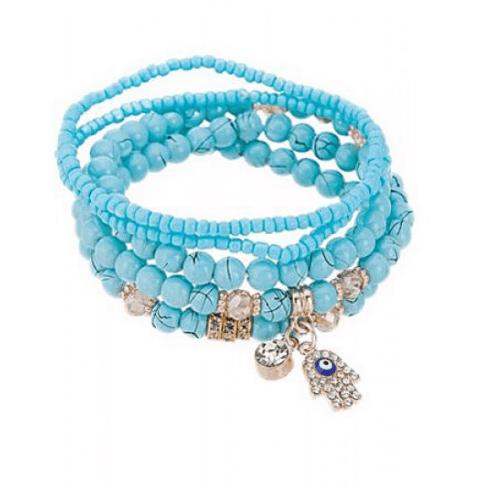 kralen armbanden set, blauw, sieraden, 5 stuks