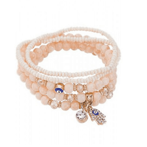 ICANDY 5 Pcs Crème Evil Eye Bracelet Set. Click here for more bracelets sets. Shop all musthave jewellery by Aphrodite. Free worldwide shipping and gift.