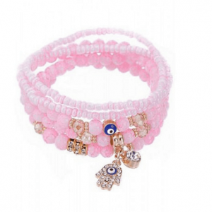 ICANDY 5 Pcs Pink Evil Eye Bracelet Set. Click here for more bracelets sets. Shop all musthave jewellery by Aphrodite. Free worldwide shipping and gift.