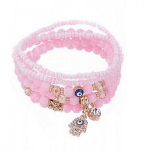 armbanden set, roze, evil eye, boze oog, hamsa hand, dames