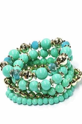 ICANDY 5 Pcs Mint Green Beaded Bracelet. Click here for more bracelets sets. Shop all musthave jewellery by Aphrodite. Free worldwide shipping and gift.