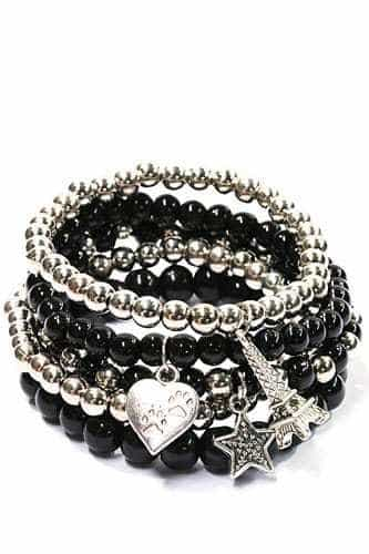 ICANDY Black Beaded Bracelet Set With Charms.Click here for more bracelets. Shop all musthave jewellery by Aphrodite. Free worldwide shipping and gift.