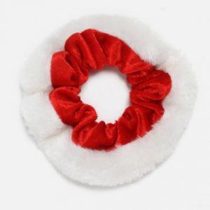 kerst scrunchie, rood, wit, haarwokkel, froezel, frutsel, haaraccessoires, accessoires