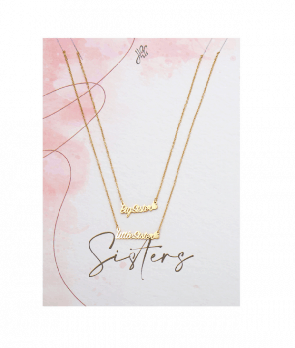 sisters, necklace, set, big sister, little sister, stainless steel, nickel free, jewellery
