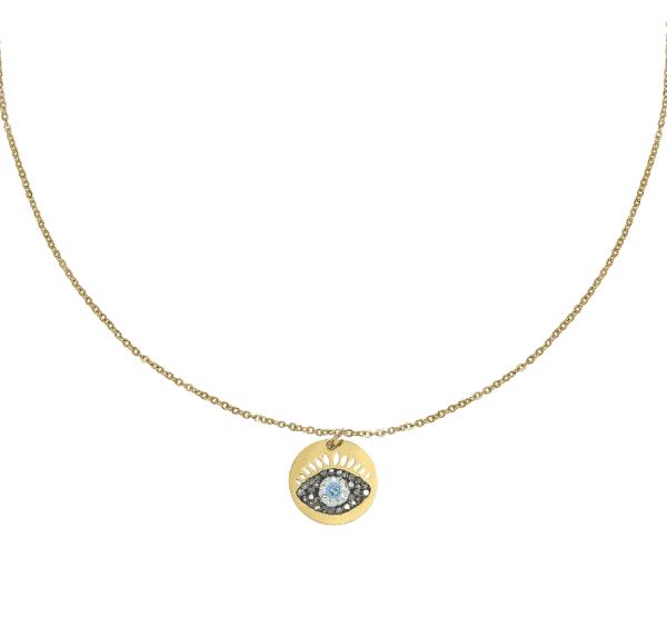ketting met hanger, evil eye, boze oog, sieraden, jewellery, jewelry, stainless steel, roestvrije staal, nikkelvrij