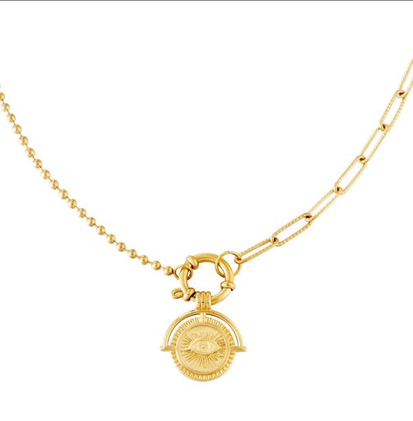 ketting, hanger, goud, chain, schakel, sieraden, accessoires