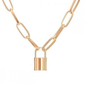 ketting met slotje, goud, sieraden, accessoires, dames, jewellery, lock