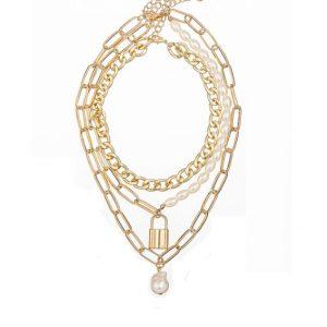 ketting met slotje, set, goud, sieraden, jewellery, jewelry, parels, dames