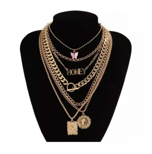 kettingen set, chain, hangers, hangertjes, vlinder, slot, love, munt, dames, sieraad, sieraden, jewellery, jewelry