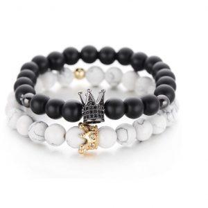 koppel armbanden, set, queen, king, kroon, kralen, relatie, vriend, vriendin, man, vrouw, matching