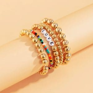 armbanden set, kralen, love, letters, goud, sieraden, dames, accessoires, leuke armbanden