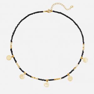 kralen ketting, zwart, muntjes, stainless steel, roestvrije staal, nikkel vrij, dames, sieraad, sieraden, jewellery, jewelry
