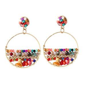 kralen oorbellen, kleurrijk, statement, groot, dames, sieraden, accessoires