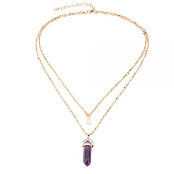 Layered Necklace With Purple Stone And Moon.Click hear for more layered necklaces.Shop all musthave jewellery by aphrodite.Free worldwide shipping.