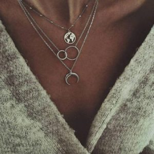 layered necklace, world map, double circle, crescent moon