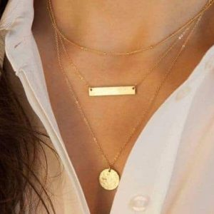 Layered Necklace With Bar And Gold Disc.Click hear for more beautiful layered necklaces.Shop all musthave jewellery by aphrodite.Free worldwide shipping.