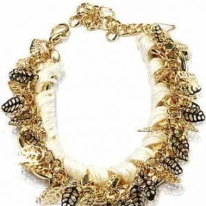 schakelarmband, goud, bladeren,wit, sieraden, musthave